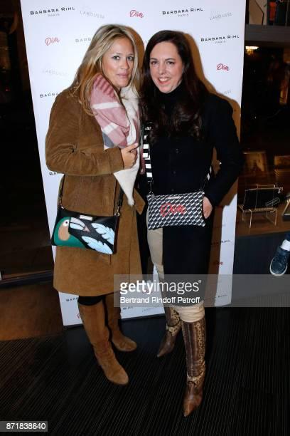 Caroline Faindt and Barbara Rihl attend Reem Kherici signs her book 'Diva' at the Barbara Rihl Boutique on November 8 2017 in Paris France