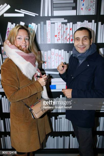 Caroline Faindt and Zinedine Soualem attend the Manifesto Sonia Rykiel 5Oth Birthday Party at the Flagship Store Boulevard Saint Germain des Pres on...