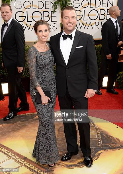 Caroline Fentress and actor Chris O'Donnel attend the 71st Annual Golden Globe Awards held at The Beverly Hilton Hotel on January 12, 2014 in Beverly...