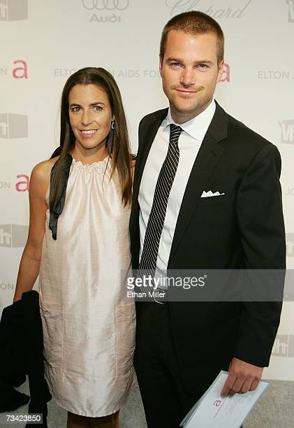 Caroline Fentress and actor Chris O'Donnell arrive at the 15th Annual Elton John AIDS Foundation Academy Awards viewing party held at the Pacific...
