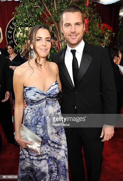 Caroline Fentress and Chris O'Donnell arrives to the TNT/TBS broadcast of the 16th Annual Screen Actors Guild Awards held at the Shrine Auditorium on...