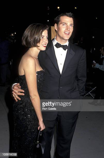 Caroline Fentress and Chris O'Donnell during 1996 Vanity Fair Oscar Party Arrivals at Morton's Restaurant in West Hollywood California United States