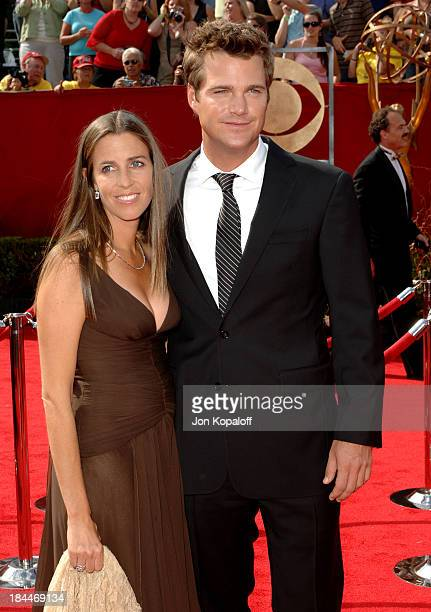 Caroline Fentress and Chris O'Donnell during 57th Annual Primetime Emmy Awards - Arrivals at The Shrine in Los Angeles, California, United States.
