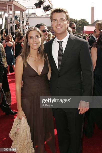 Caroline Fentress and Chris O'Donnell during The 57th Annual Emmy Awards Arrivals at Shrine Auditorium in Los Angeles California United States