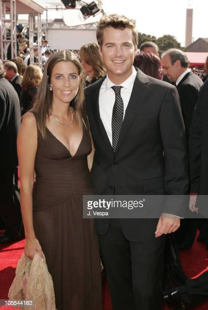 Caroline Fentress and Chris O'Donnell during The 57th Annual Emmy Awards - Arrivals at Shrine Auditorium in Los Angeles, California, United States.