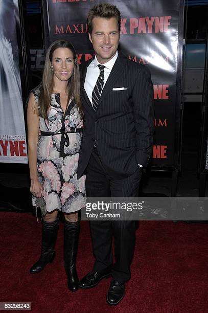 """Caroline Fentress and Chris O'Donnell pose for a picture at the premiere of 20th Century Fox's """"Max Payne"""" October 13, 2008 at Mann's Chinese Theater..."""