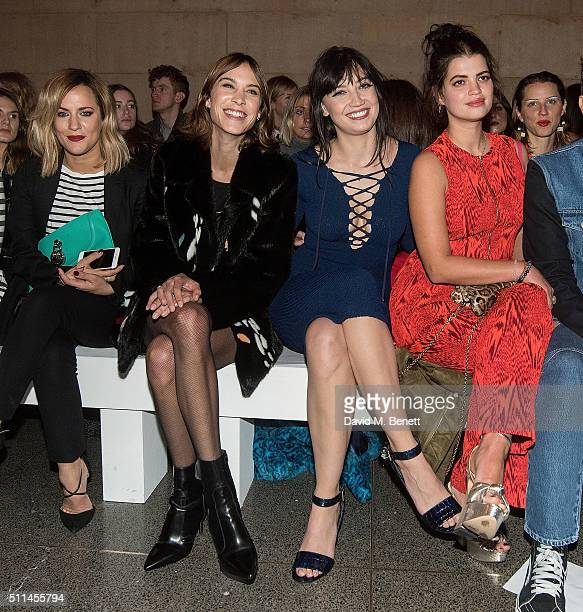 Caroline Flack Alexa Chung Daisy Lowe and Pixie Geldof attend the House of Holland show during London Fashion Week Autumn/Winter 2016/17 at TopShop...