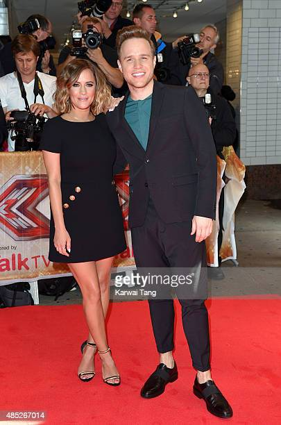Caroline Flack and Olly Murs attend the press launch of The X Factor at the Picturehouse Central on August 26 2015 in London England