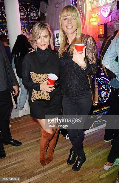 Caroline Flack and Sara Cox attend the Anne Mac Presents 2015 album launch party at Lights Of Soho on September 30 2015 in London England