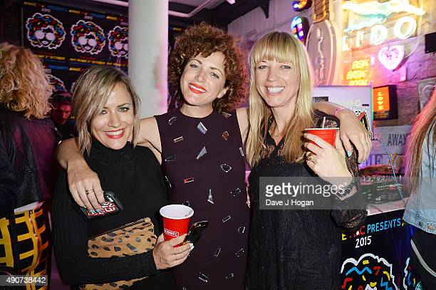 Caroline Flack Annie Mac and Sara Cox attend the Anne Mac Presents 2015 album launch party at Lights Of Soho on September 30 2015 in London England