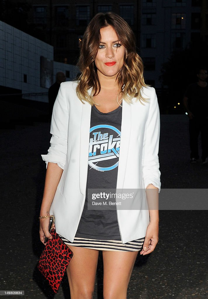 Caroline Flack arrives at the Warner Music Group Pre-Olympics Party in the Southern Tanks Gallery at the Tate Modern on July 26, 2012 in London, England.