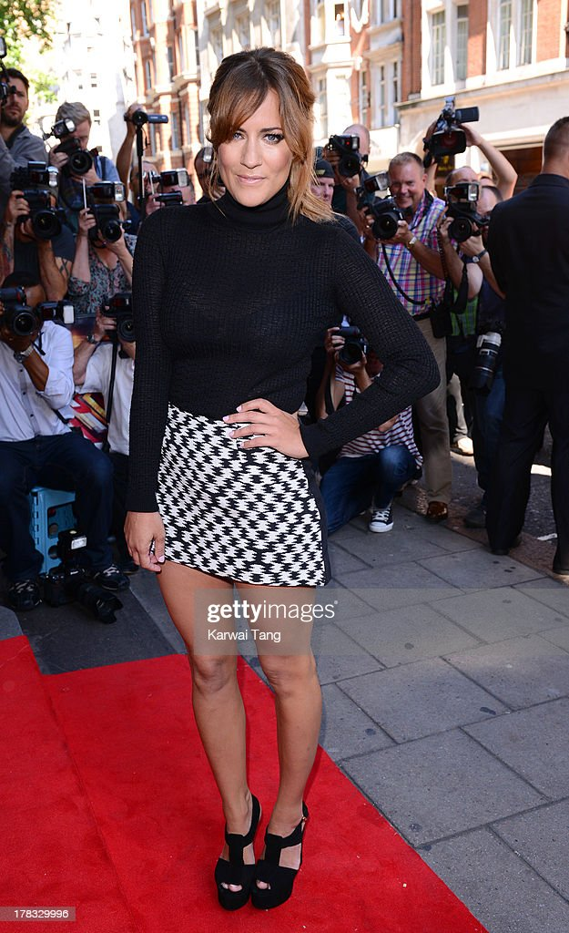 Caroline Flack arrives for the X-Factor Press Launch held at The Mayfair Hotel on August 29, 2013 in London, England.
