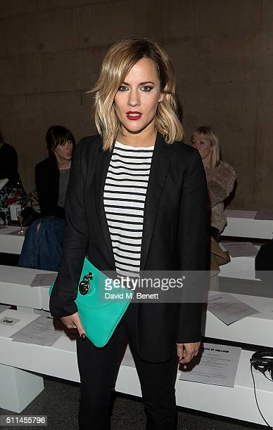 Caroline Flack attends the House of Holland show during London Fashion Week Autumn/Winter 2016/17 at TopShop Show Space on February 20 2016 in London...