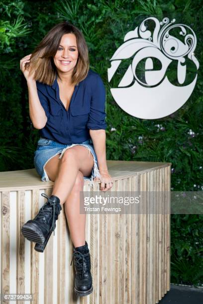 Caroline Flack poses for pictures at the opening of the Zeo Dry Bar in Old Street on April 27 2017 in London EnglandHeathy soft drink brand Zeo is...