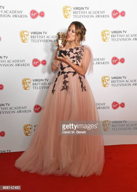 Caroline Flack poses with the award for Best Reality and Constructed Factual Series at the Virgin TV British Academy Television Awards at The Royal...