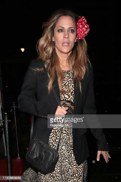 Caroline Flack seen on a night out leaving The London Cabaret Club on February 28 2019 in London England