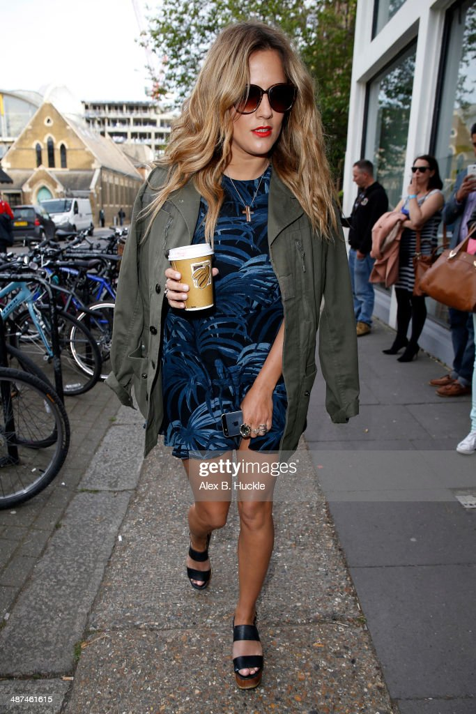 Caroline Flack sighted arriving at the Riverside studios in Hammersmith to film 'Celebrity Juice'. April 30, 2014 in London, England.