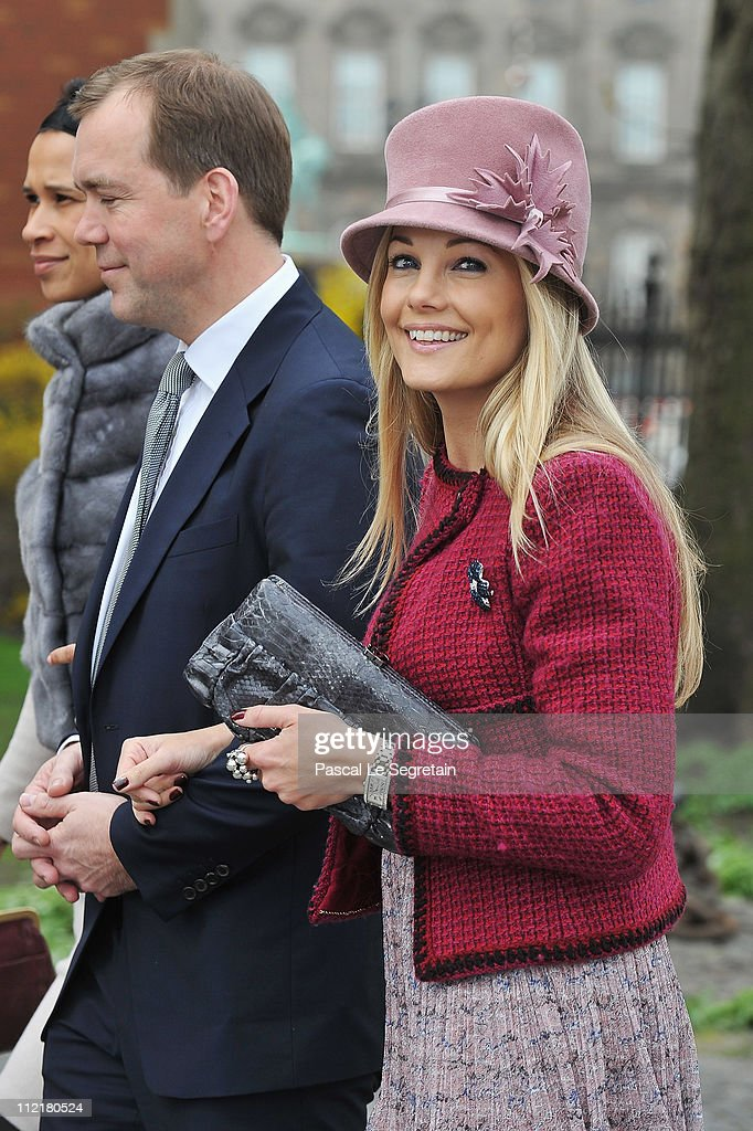 Caroline Fleming arrives to attend the christening of Crown Prince Frederik and Crown Princess Mary's twins at Holmens Kirke on April 14, 2011 in Copenhagen, Denmark.