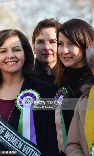 Caroline Flint Mary Creagh Liz Kendall Female members of the shadow cabinet and Labour politicians wearing suffrage rosettes and banners stand...