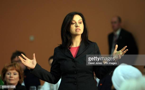 Caroline Flint MP answers questions as Prime Minister Gordon Brown launches the Labour Party's European Election Campaign at the Kirk Hallam...