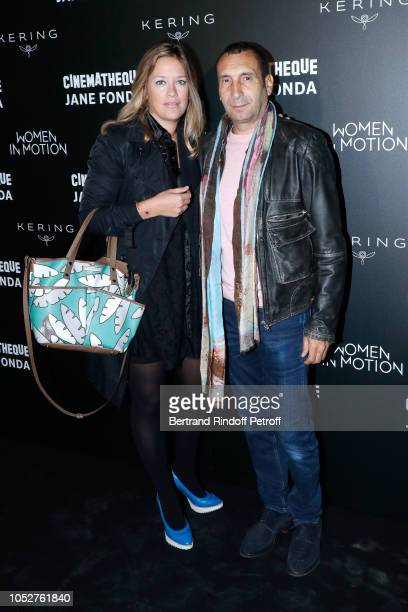 """Caroline Fraindt and Zinedine Soualem attend the Kering """"Women in Motion"""" Master Class With Jane Fonda at La Cinematheque Francaise at la..."""