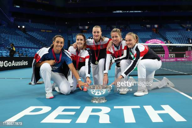 Caroline Garcia, Alize Cornet, Kristina Mladenovic, Pauline Parmentier and Fiona Ferro of France pose with the Fed Cup in the 2019 Fed Cup Final tie...