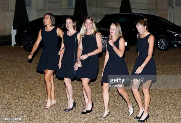 Caroline Garcia Alize Cornet Pauline Parmentier Fiona Ferro and Kristina Mladenovic of the French women's tennis team arrive at the Elysee...