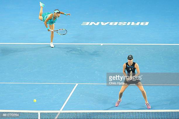 Caroline Garcia and Katarina Srebotnik in action during the Womens doubles final against Sabine Lisicki and Martina Hingis during day seven of the...