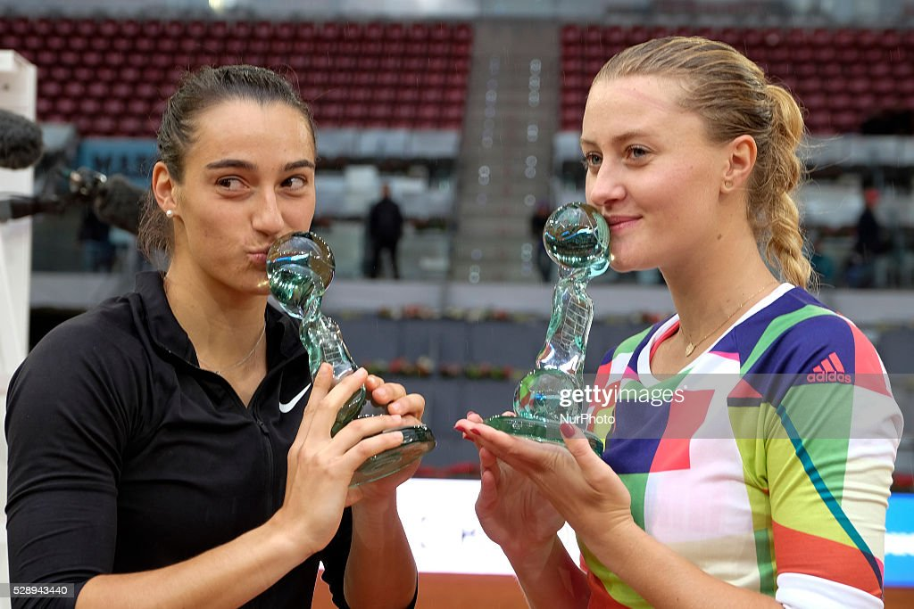Caroline Garcia and Kristina Mladenovic of France celebrates in the doubles final during day eight of the Mutua Madrid Open tennis tournament at the Caja Magica on May 07, 2016 in Madrid, Spain.