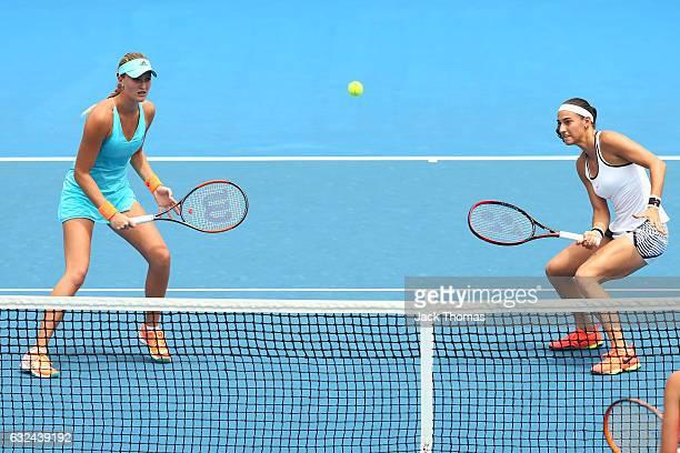 Caroline Garcia and Kristina Mladenovic of France compete in their third round match against Katarina Srebotnik of Slovakia and Saisai Zheng of China...