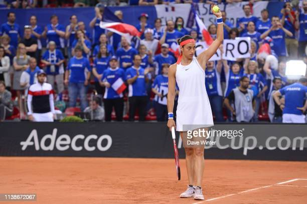 Caroline Garcia of France acknowledges the crowd before the Fed Cup semifinal between France and Romania on April 21 2019 in Rouen France