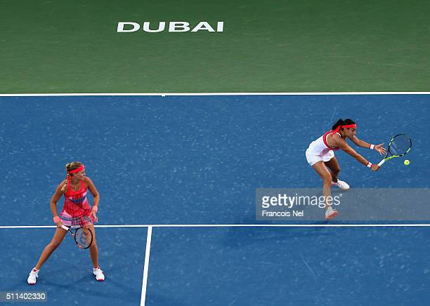 Caroline Garcia of France and Kristina Mladenovic of France in action against ChiaJung Chaung of Taiwan and Darija Jurak of Croatia during the...