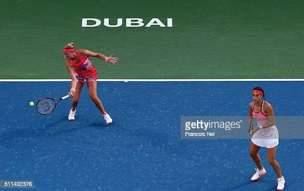 Caroline Garcia of France and Kristina Mladenovic of France in action against Chia-Jung Chaung of Taiwan and Darija Jurak of Croatia during the...