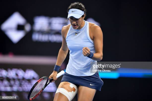 Caroline Garcia of France celebrates a point against Elina Svitolina of Ukraine during the Women's singles Quarterfinals match on day seven of 2017...