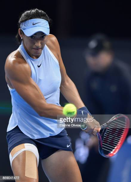 Caroline Garcia of France celebrates a point during the Women's Singles final against Simona Halep of Romania on day nine of the 2017 China Open at...