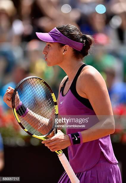 Caroline Garcia of France celebrates a point in her match against Svetlana Kuznetsova of Russia on Day Three of The Internazionali BNL d'Italia 2016...