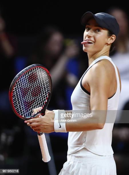 Caroline Garcia of France celebrates after defeating Elina Svitolina of Ukraine during day 5 of the Porsche Tennis Grand Prix at PorscheArena on...