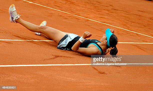 Caroline Garcia of France celebrates after defeating Jelena Jakovic of Serbia 63 64 during their WTA Bogota Open final match at El Rancho Club on...