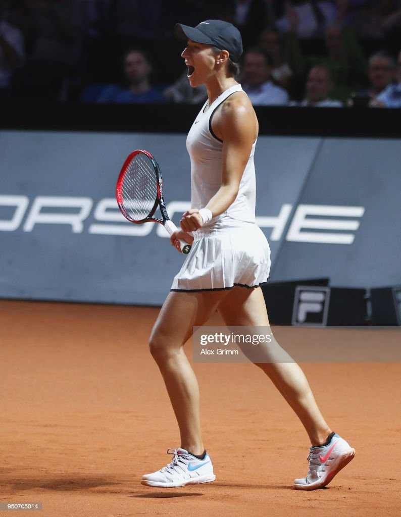 Caroline Garcia of France celebrates after defeating Maria Sharapova of Russia during day 2 of the Porsche Tennis Grand Prix at Porsche-Arena on April 24, 2018 in Stuttgart, Germany.
