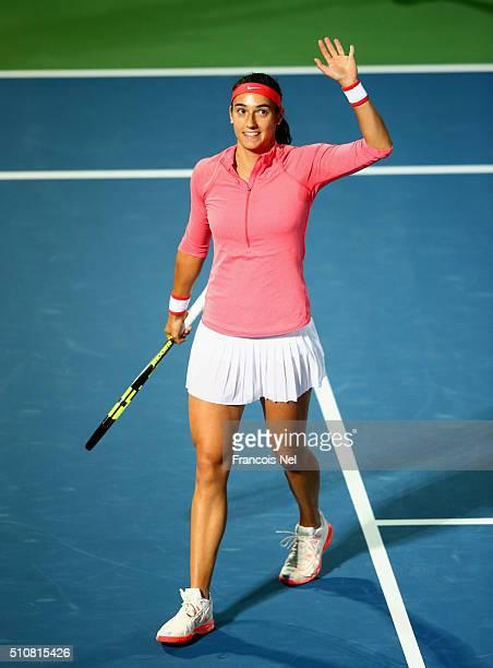 Caroline Garcia of France celebrates after winning het match against Carla Suarez Navarro of Spain during day three of the WTA Dubai Duty Free Tennis...