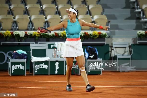 Caroline Garcia of France celebrates after winning match point during her Women's Singles second round match against Aliaksandra Sasnovich of Belarus...