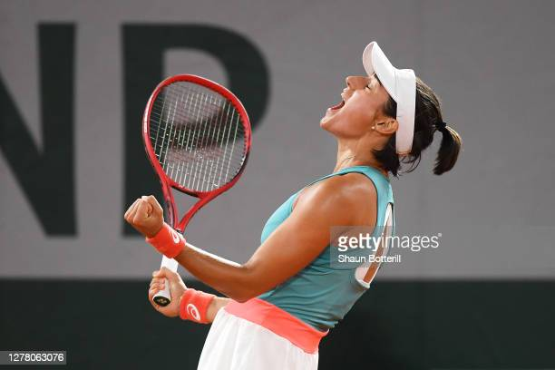 Caroline Garcia of France celebrates after winning match point during her Women's Singles third round match against Elise Mertens of Belgium on day...