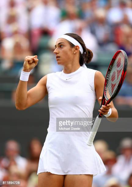 Caroline Garcia of France celebrates during the Ladies Singles fourth round match against Johanna Konta of Great Britain on day seven of the...