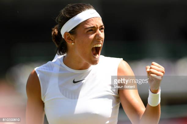 Caroline Garcia of France celebrates during the Ladies Singles third round match against Madison Brengle of The Unites States on day five of the...