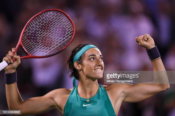 Caroline Garcia of France celebrates her 63 62 victory against Maria Sharapova of Russia during day four of the Rogers Cup at IGA Stadium on August 9...