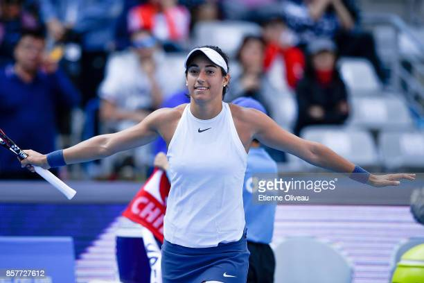 Caroline Garcia of France celebrates her victory over Alize Cornet of France during their Women's singles third round match on day six of the 2017...