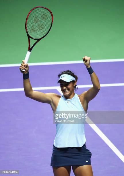 Caroline Garcia of France celebrates victory in her singles match against Elina Svitolina of Ukraine during day 4 of the BNP Paribas WTA Finals...