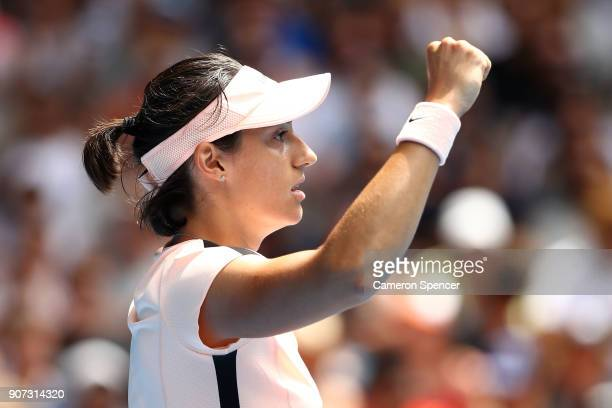 Caroline Garcia of France celebrates winning a point in her third round match against Aliaksandra Sasnovich of Belarus on day six of the 2018...