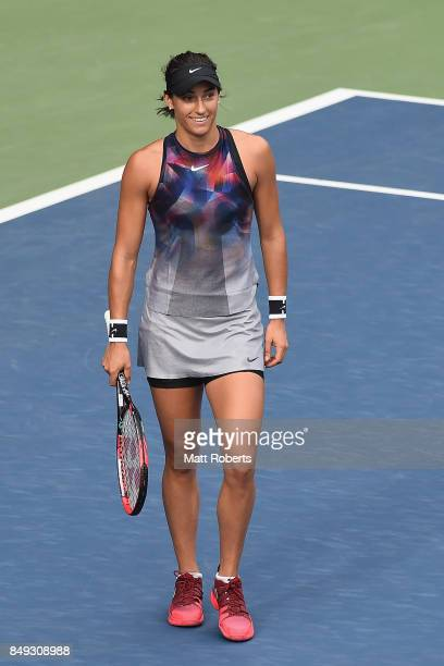 Caroline Garcia of France celebrates winning her match against Aliaksandra Sasnovich of Belarus during day two of the Toray Pan Pacific Open Tennis...