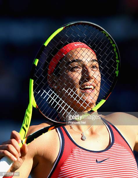 Caroline Garcia of France celebrates winning her Women's Singles Quarter Final match against Andrea Petkovic of Germany during day four of the WTA...